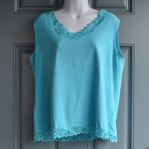 Teal Double Lace Tank by Coldwater Creek Sz. XL